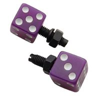 Purple Dice w/ White Dots License Plate Fasteners, Set of 2, Rat Rod, Gasser