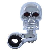 CHROME SKULL STEERING WHEEL SPINNER, Car, Truck, Street Rod, EACH