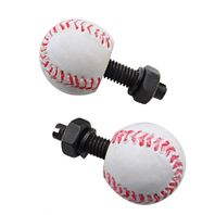 White Baseball w/ Red Stich License Plate Fasteners, Set of 2, Hot Rod, Rat Rod