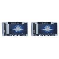 1929 Ford License Plate Frame Chrome Finish with Blue and White Script, Set of 2
