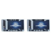 1932 Ford License Plate Frame Chrome Finish with Blue and White Script, Set of 2