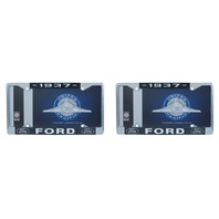 1937 Ford License Plate Frame Chrome Finish with Blue and White Script, Set of 2