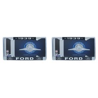1939 Ford License Plate Frame Chrome Finish with Blue and White Script, Set of 2
