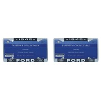 1942 Ford License Plate Frame Chrome Finish with Blue and White Script, Set of 2