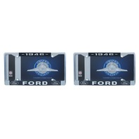 1946 Ford License Plate Frame Chrome Finish with Blue and White Script, Set of 2