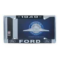 1949 Ford License Plate Frame Chrome Finish with Blue and White Script