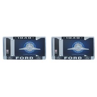 1949 Ford License Plate Frame Chrome Finish with Blue and White Script, Set of 2