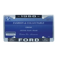 1950 Ford License Plate Frame Chrome Finish with Blue and White Script