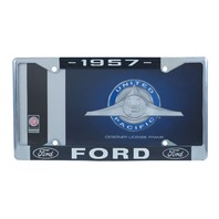 1957 Ford License Plate Frame Chrome Finish with Blue and White Script