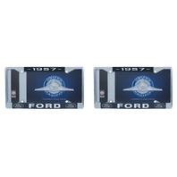 1957 Ford License Plate Frame Chrome Finish with Blue and White Script, Set of 2