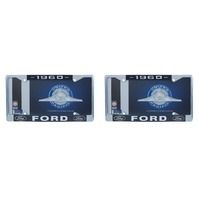1960 Ford License Plate Frame Chrome Finish with Blue and White Script, Set of 2