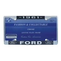 1961 Ford License Plate Frame Chrome Finish with Blue and White Script