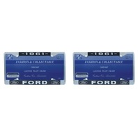 1961 Ford License Plate Frame Chrome Finish with Blue and White Script, Set of 2