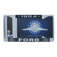 1964 Ford License Plate Frame Chrome Finish with Blue and White Script