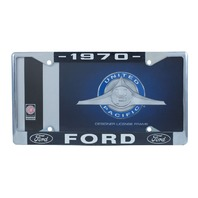 1970 Ford License Plate Frame Chrome Finish with Blue and White Script