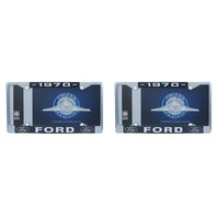 1970 Ford License Plate Frame Chrome Finish with Blue and White Script, Set of 2