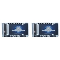 1971 Ford License Plate Frame Chrome Finish with Blue and White Script, Set of 2