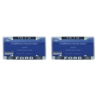 1972 Ford License Plate Frame Chrome Finish with Blue and White Script, Set of 2