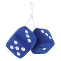 "Blue Plush Fuzzy Mirror Dice w/ White Dots ~ Vintage Car Hot Rat Street Rod 3"" x 3"""