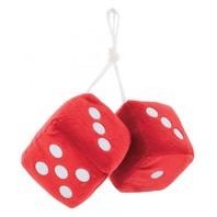 "Red Plush Fuzzy Mirror Dice w/ White Dots ~ Vintage Car Hot Rat Street Rod 3"" x 3"""