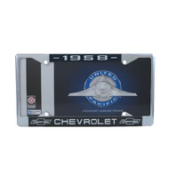 1958 Chevy Chrome License Plate Frame with Chevrolet Bowtie Blue / White Script