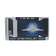 1959 Chevy Chrome License Plate Frame with Chevrolet Bowtie Blue / White Script