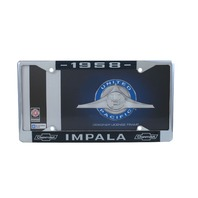 1958 Chevy Impala Chrome License Plate Frame with Blue and White Script