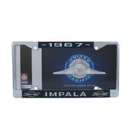 1967 Chevy Impala Chrome License Plate Frame with Blue and White Script