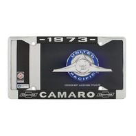 "1973 Chevy ""Camaro"" Chrome License Plate Frame with Year and Chevrolet Bowtie"