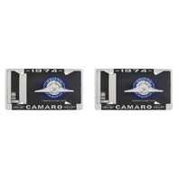 "1974 Chevy ""Camaro"" Chrome License Plate Frame with Year and Bowtie, Set of 2"