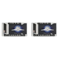 "1975 Chevy ""Camaro"" Chrome License Plate Frame with Year and Bowtie, Set of 2"