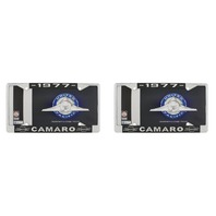 "1977 Chevy ""Camaro"" Chrome License Plate Frame with Year and Bowtie, Set of 2"