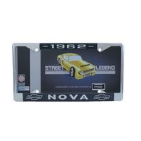 1962 Chevy Nova Chrome License Plate Frame with Blue and White Script