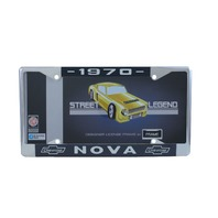 1970 Chevy Nova Chrome License Plate Frame with Blue and White Script