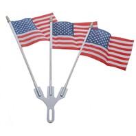 Chrome Parade 3 Flag Holder & 3 American Flag Set - Show Your Patriotism