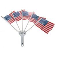 Chrome Parade 5 Flag Holder & 5 American Flag Set - Show Your Patriotism