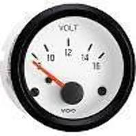 VW BUG AIR COOLED, VDO COCKPIT WHITE  VOLT METER GAUGE ,8-16 VOLTS  332241