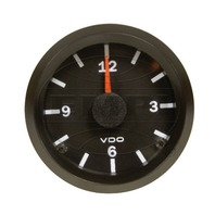 VW BUG AIR COOLED, VDO COCKPIT VISION BLACK ANALOG CLOCK 12V-2-1/16  370155