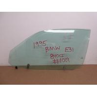 1995 BMW 840i E31 #1019 Door Window Glass, Left Drivers Side