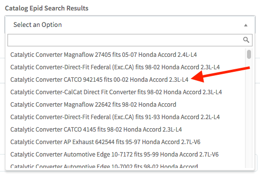 Catalog EPID - Search Result Selection - Arrow