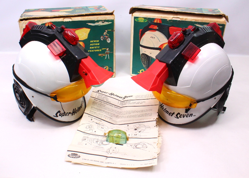 Lot Of 2 Topper Toys 1964 Super-Helmet Seven - Vintage Helmets