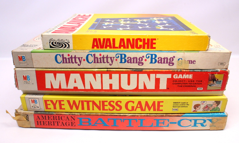 Vintage Board Game Lot - Avalanche Chitty Bang Manhunt Eye Witness Battle-Cry