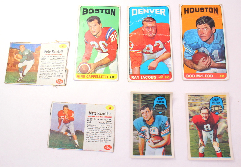 Topps Post FootBall Cards Cappelletti Ray Jacobs Bob McLeod Csonka Larry Wilson