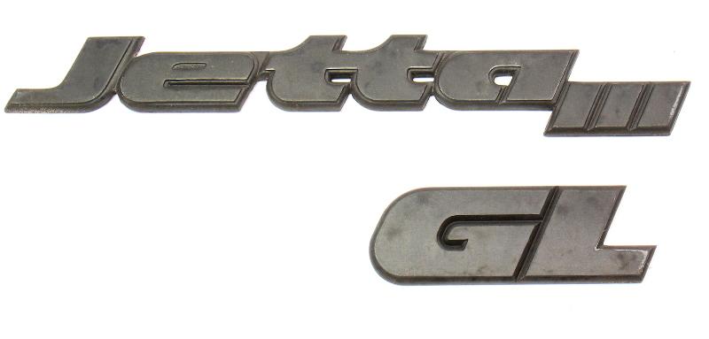 Trunk Emblems Badges VW Jetta GL MK3 - Genuine - 1HM 853 687 AD