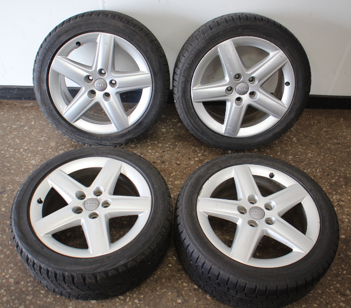 "Set Of Stock Wheels & Blizzak Snow Winter Tires  5x112 17"" VW Audi A3 A4"