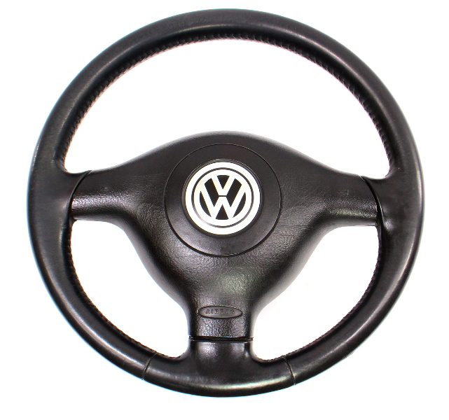 3 Spoke Black Leather Sport Steering Wheel 99-02 VW Cabrio MK3.5 Jetta Golf GTI