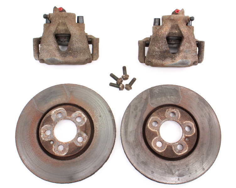 Front Brake Calipers and Rotors Set 93-99 VW Jetta GTI VR6 MK3 5x100 - Genuine