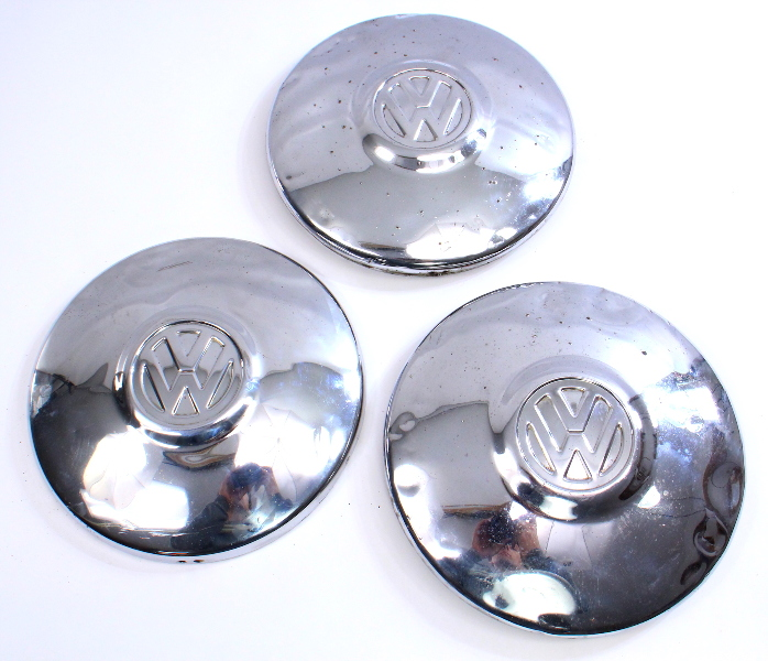 "10"" Chrome Hub Center Cap Hubcap Set 3 VW Beetle Bug 1960s 70s Aircooled Genuine"