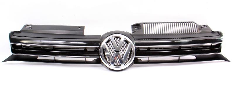 Grille Grill & Emblem 10-14 VW Jetta Sportwagen Black - Genuine - 1K9 853 651 A