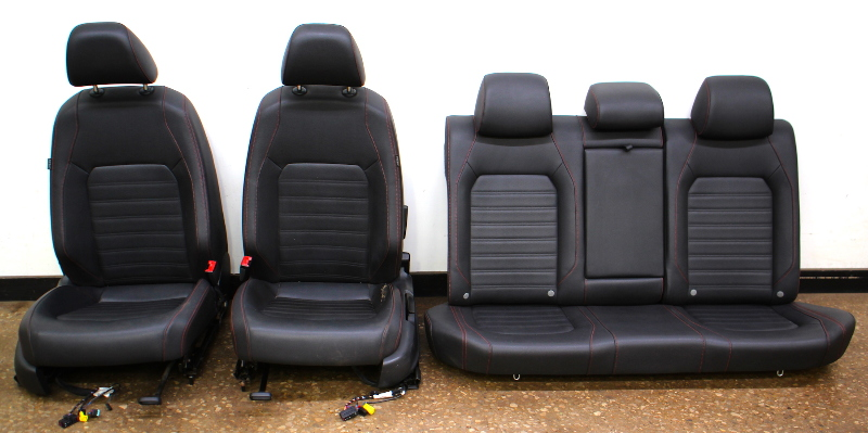 Red Stitched Leather Jetta GLI Sport Seats Interior 2012 VW Jetta MK6 - Genuine